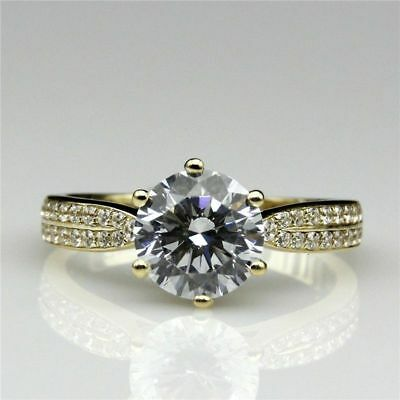 3Ct Round Diamond 14K Yellow Gold Over Solitaire Engagement Wedding Ring