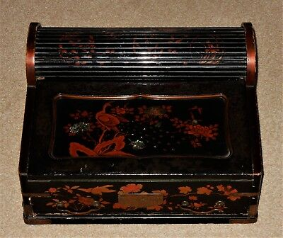 Antique Japanese Lacquer Tambour Top Lap Desk / Writing Slope