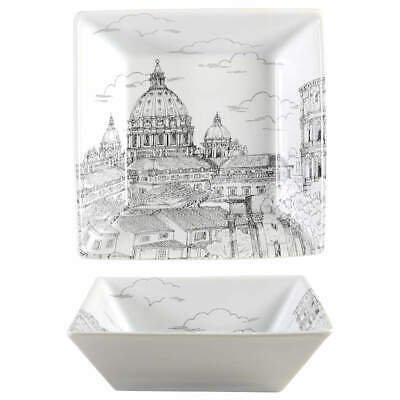 222 Fifth CITY SCENES-BLACK Rome Soup Cereal Bowl 8560463