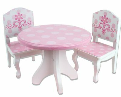 Pink & White Hand-painted Wooden Dining Set  For 18 inch American Girl Dolls