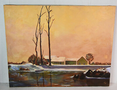 "28"" Oil Painting 1960s Lucille Bodiford Landscape w/ Old Rustic Houses Trees"