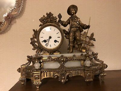 French Ormolu Gilt White Marble Mantle Clock