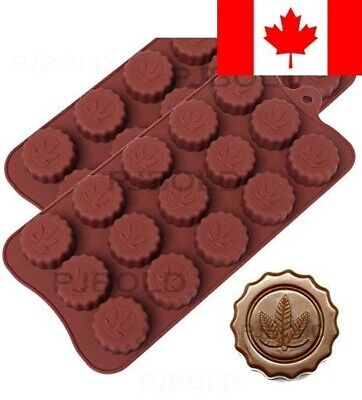 Marijuana Leaf Embossed Silicone Chocolate Candy Mold Ice Cube Trays, 2 Pack
