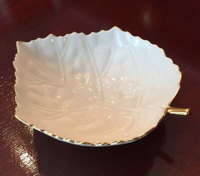 Lenox China Ivory Leaf Candy Nut Dish Bowl 24K Gold Trim MINT!