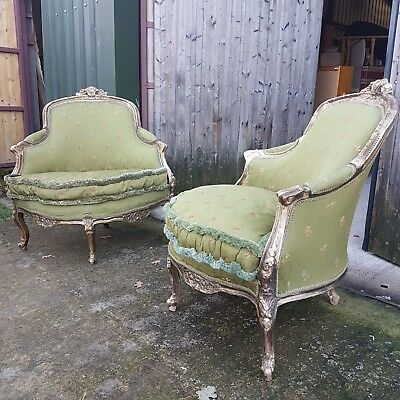 Pair of 19th century French transitional Louis XV-Louis XVI style painted and gi