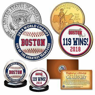 Boston Red Sox 2018 World Series Champions 119 WINS Legal Tender US 2-Coin Set