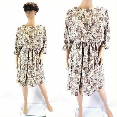 Vintage 1980s Brown Beige Floral Batwing Mini Dress - Size 10/12UK