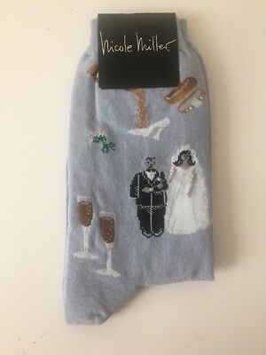 *NWT* New Nicole Miller Wedding Women's Multicolored Pattern Crew Socks 9-11