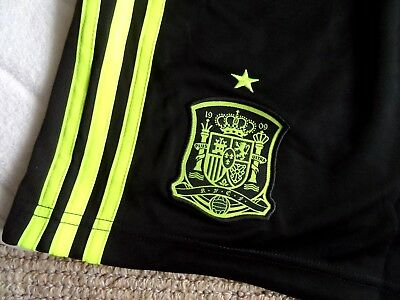 S or M ADIDAS SPAIN TRAINING SHORTS Black / Electric Football Soccer NEW TAGS