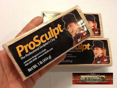 M00031x3 MOREZMORE 3 lb Prosculpt BEIGE CAUCASIAN Professional Doll Polymer Clay