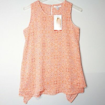 Fever Womens Medium Double Layer Sleeveless Lightweight Airy Blouse Coral New