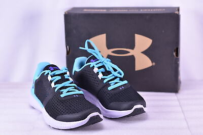 Youth Girl's Under Armour Micro G Fuel Running Shoes Black/Blue