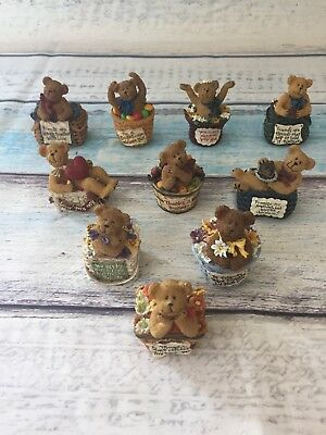 Boyds Bears Basketbearies Lot of 10 Basket Gift Friends Mom Chocolate Figure