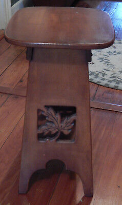 Vintage Carved Wood Maple Leaf Parlor End Table Stand Arts And Crafts