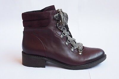 ccf4c93cd SAM EDELMAN Darrah burgundy leather combat Ankle Boots Booties womens size 9