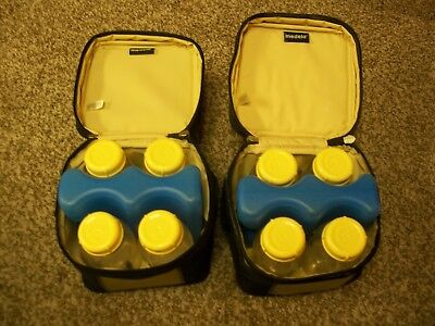 Lot of 2 Medela Thermal Cooler Bags With Ice-Packs and Bottles - FREE SHIPPING !