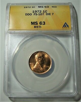 BRILLIANT RED!!!!  1972 DDO Lincoln Cent FS-107 Die 7 ANACS MS63RD