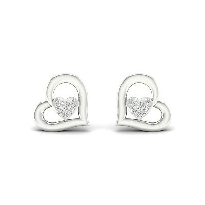 0.15Ct Round-Cut Diamond Open Heart Shape Stud Earrings 14K White Gold Finish