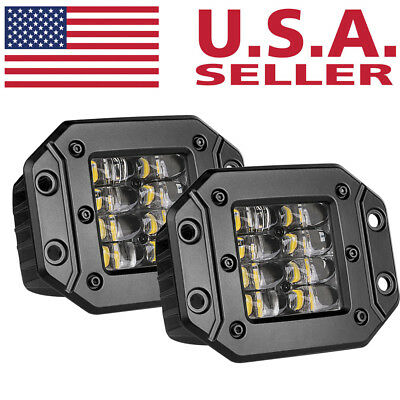 "2x 160W 5"" Flush Mount LED Work Light Bar Rear Bumper Reverse Pods 4-Row Driving"