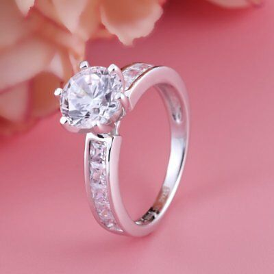 2.20Ct Round Brilliant Diamond Solitaire Engagement Ring 14K White Gold Finish