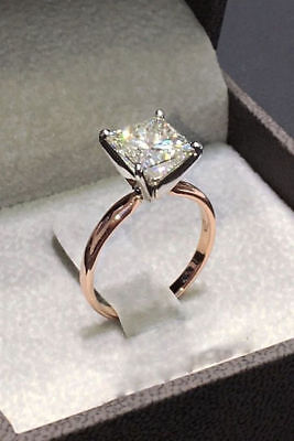 2Ct Princess-Cut Diamond Solitaire Engagement Ring 18K Rose Gold Finish
