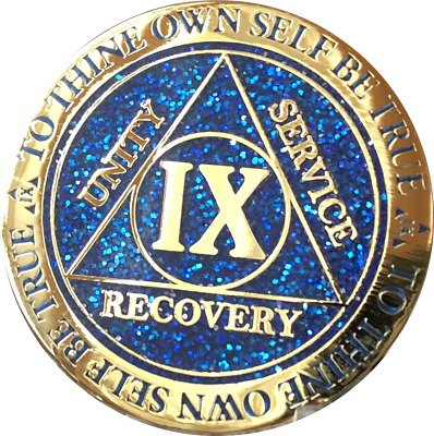 5 Year AA Medallion Reflex Glitter Blue Gold Plated Sobriety Chip Coin Five