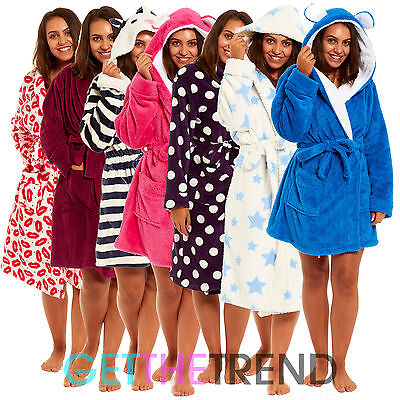 Womens Hooded Fleece Dressing Gown Ladies Novelty Design Winter Bath Robe Gowns