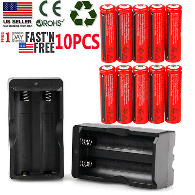 10pc UltraFire 18650 BRC 3000mAh Li-ion 3.7V Rechargeable Battery +US Charger