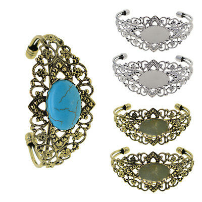 2x DIY Filigree Bracelet Bangle Blank Base Cabochon Setting Jewelry Findings