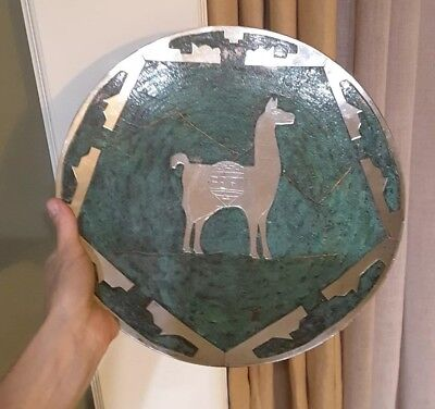 Vintage Peruvian Copper & Silver Inca Wall Plaque