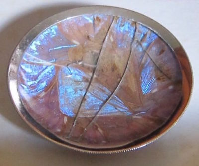 """Antique 1938 silver 3-1/2""""ashtray coaster.Butterfly wings under glass.So.America"""