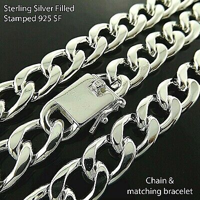 Necklaces Chains 925 Sterling Silver Solid Mens Womens Curb Box Figaro Belcher