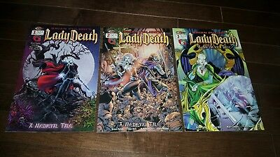 Brian Pulido's Lady Death: A Medieval Tale #1 #2 #3( 2003, CrossGen) VF/NM-