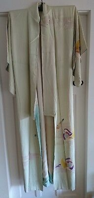 Lovely Cream / Pale Green Bird Patterned Vintage Japanese Full Length Kimono