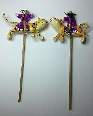 Pair Vintage Chinese Taiwanese Paper Mache Tiger Leopard Stick Puppets