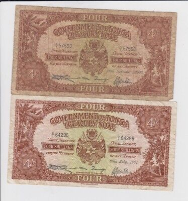Tonga Paper Money 2 old notes  vg and fine