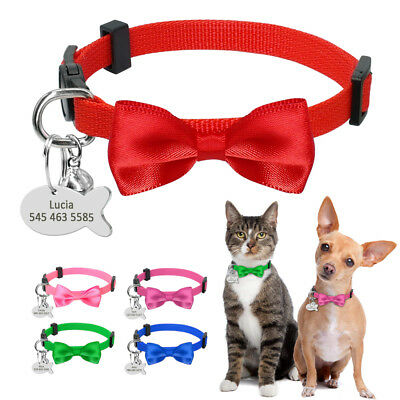 Bowtie Personalised Cat Breakaway Collar and Tag Engraved Quick Release Pink Red