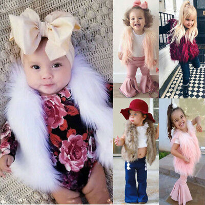 Kids Baby Girls Faux Fur Vest Waistcoat Child Warm Winter Coat Outwear Jacket
