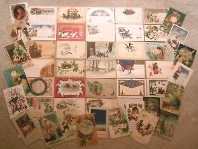Lot of 50x Antique Early 1900s Christmas & New Years Postcards Embossed