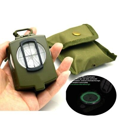 Professional Military Army Metal Sighting Compass Clinometer Camping Pocket Glow