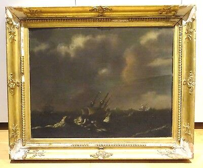 Large 17th 18th Century Dutch Navy Ships Sailing In A Storm Antique Oil Painting