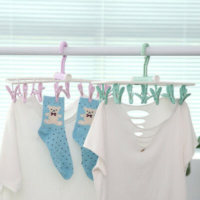 12 PCS Clothes Clip Pins Hanging Socks Hanger Laundry Supplies Plastic New -BM95
