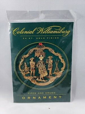 Colonial Williamsburg 24k Gold Finish Fifes & Drums Christmas Ornament