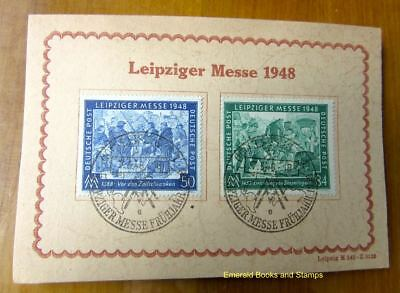 EBS Germany 1948 Allied Occupation Leipzig Spring Fair Michel 967-968 ON CARD 1
