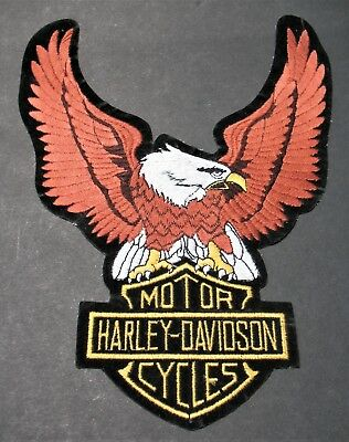 "Harley-Davidson Motorcycle Eagle Patch Brown Up-Wing 10 ""x 7.5"" Bike Motorbike"