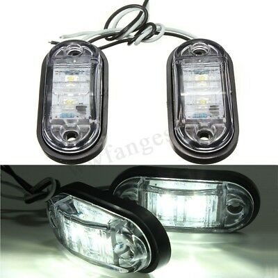 2X12V 24V DC White LED Side Marker Clearance Lights Indicators Trailer Truck Van