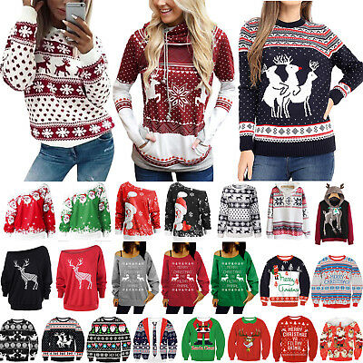 Women Xmas Hoodie Sweatshirt Sweater Christmas Winter Hooded Pullover Jumper Top
