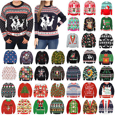 Ugly Christmas Sweater Women Men Xmas Jumper Sweatshirt Pullover Tops Hoodies