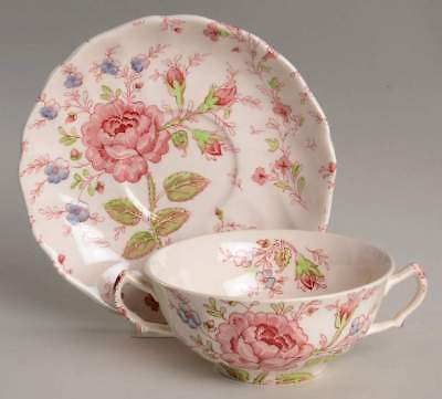Johnson Brothers ROSE CHINTZ PINK Cream Soup Bowl & Saucer 1231006