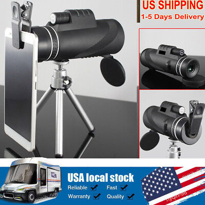 40x60 Zoomable Monocular HD Optic Telescopes Handheld Binoculas W/ Clip & Tripod